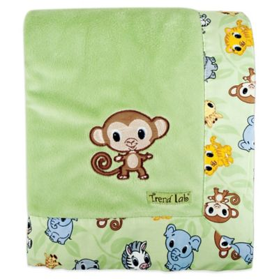 Trend Lab® Chibi Zoo Velour Receiving Blanket in Green