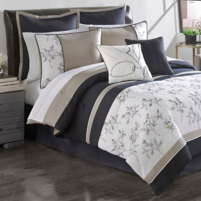 Sketch Pad 12-Piece Queen Comforter Set in Navy/Heather Grey