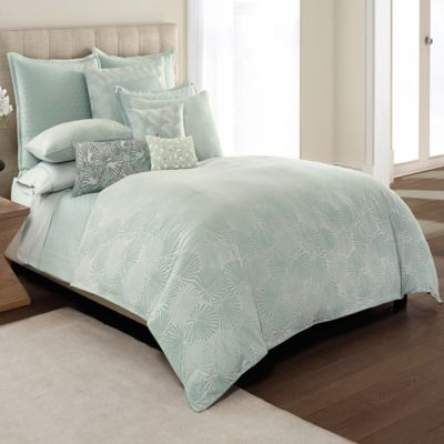 Catherine Malandrino Jade Reversible Full/Queen Duvet Cover in Seafoam