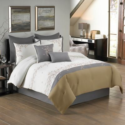 Crystal 8-Piece California King Comforter Set in Ivory/Taupe
