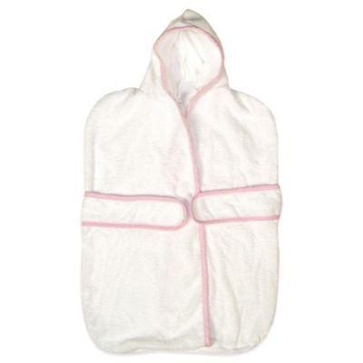 Trend Lab® Size 0-9M Terry Kimono Bath Bag with Gingham Seersucker Trim in White/Pink
