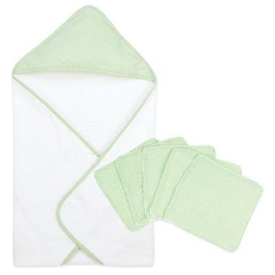Trend Lab® Gingham Seersucker 6-Piece Hooded Towel and Washcloth Bouquet Set in Sage