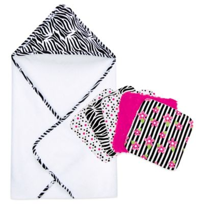 Trend Lab® Zebra 6-Piece Hooded Towel and Washcloth Bouquet Set