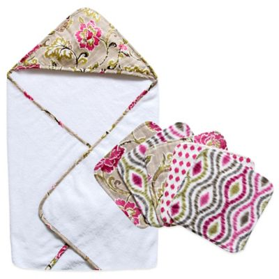 Waverly® Baby by Trend Lab® 6-Piece Jazzberry Hooded Towel and Wash Cloth Bouquet Set