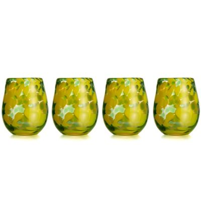 Fitz and Floyd® Splash Stemless Glass in Green (Set of 4)