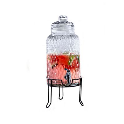 Quilted Glass Beverage Dispenser in Clear