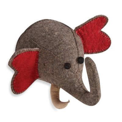 Two's Company Elephant Safari Animal Trophy Head in Grey/Red