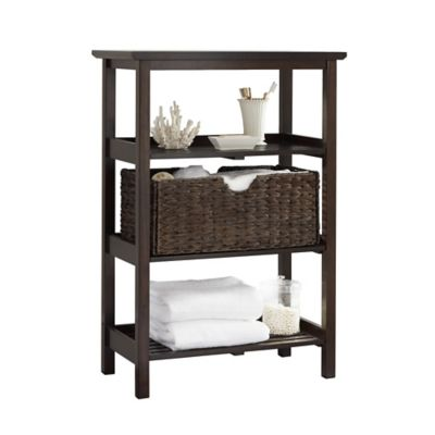 3-Shelf Wide Wood Slatted Tower in White