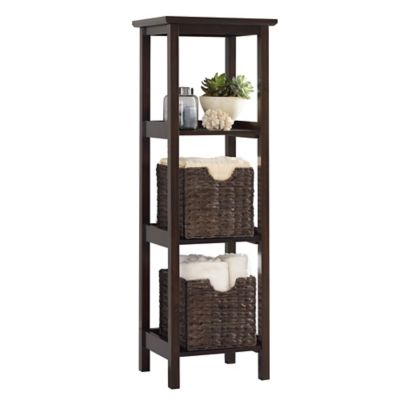 3-Shelf Wood Slatted Tower in White