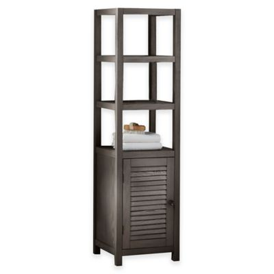 Drift 3-Shelf Wood Tower Cabinet in Grey
