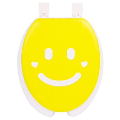 Happy Seat Round Soft-Padded Smile Toilet Seat in Yellow/White