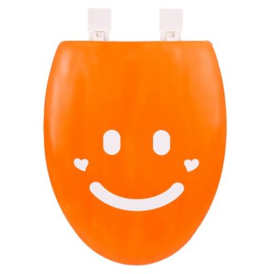 Happy Seat Elongated Soft-Padded Smile Toilet Seat in Orange/White