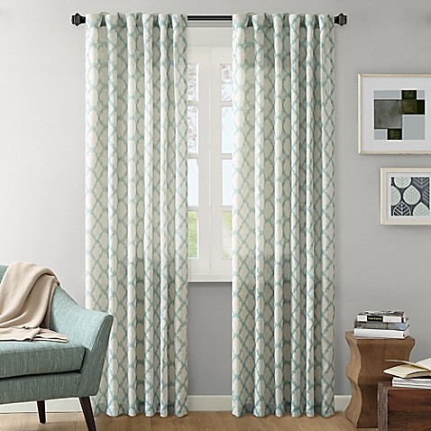 84 inch linen window curtain panel in aqua from bed bath amp beyond