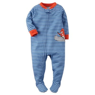 Carter's® Size 12M Stripe and Fox Footed Pajama in Blue