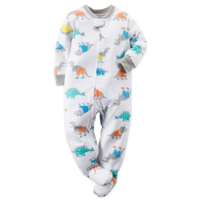Carter's® Size 18M Dinosaur Print Footed Pajama in White
