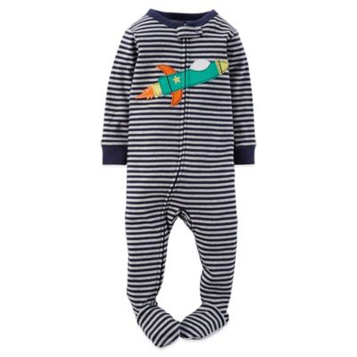 Carter's® Size 24M Stripes and Rocket Footed Pajama in Navy