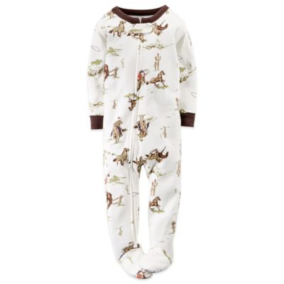Carter's® Size 18M Cowboy Footed Pajama in White