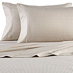 The Seasons Collection® Full Flannel Sheet Set in Taupe Stripe