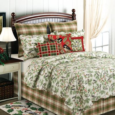 Chickadee and Holly Pines Holiday Reversible Full/Queen Quilt