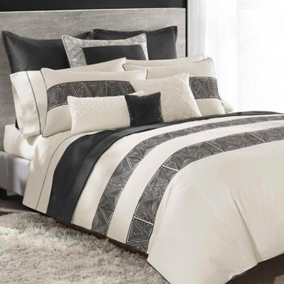 Catherine Malandrino Optic Standard Pillow Sham in Black/Ivory