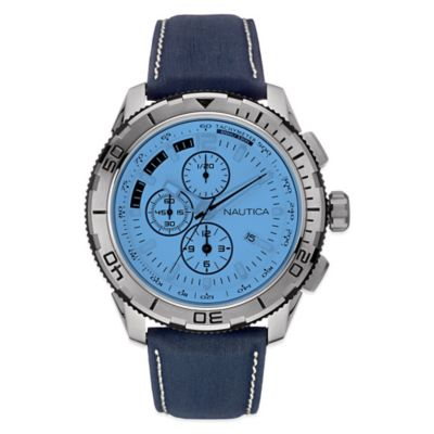 Nautica 48mm Blue Crystal White Dial Chronograph Watch in Stainless Steel with Navy Leather Strap