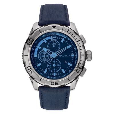 Nautica 48mm Blue Crystal Black Dial Chronograph Watch in Stainless Steel with Navy Leather Strap