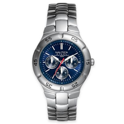 Nautica® Men's 36mm Blue Dial Chronograph Watch in Stainless Steel