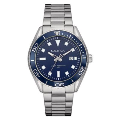 Nautica® Men's 44mm Navy Dial Watch in Brushed Stainless Steel