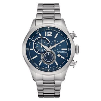 Nautica® Men's 44mm Navy Dial Chronograph Watch in Brushed Stainless Steel