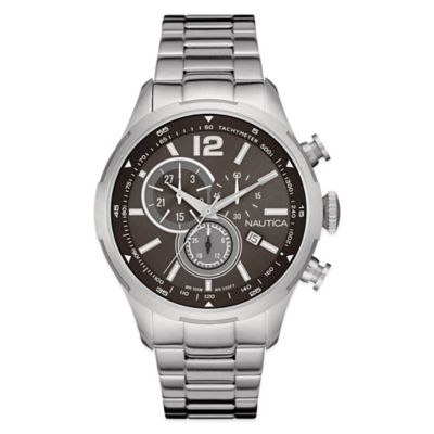 Nautica® Men's 44mm Black Dial Chronograph Watch in Brushed Stainless Steel
