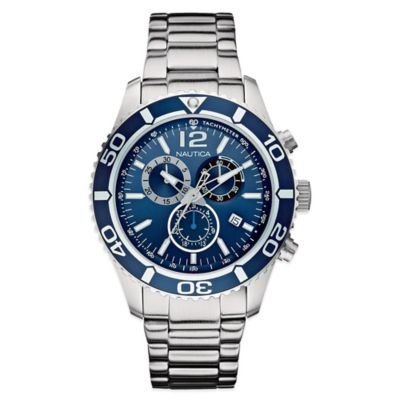 Nautica® Men's 43mm Blue Dial Chronograph Watch in Stainless Steel
