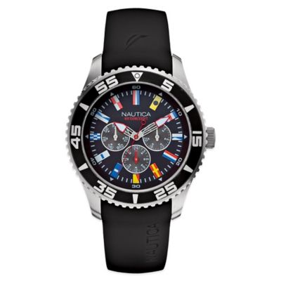 Nautica® Flags Men's 44mm Black Dial Watch in Stainless Steel with Black Resin Strap