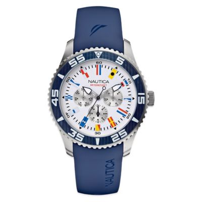 Nautica® Flags Men's 44mm White Dial Watch in Stainless Steel with Navy Resin Strap