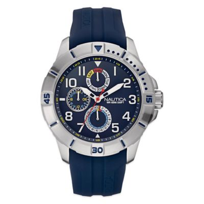 Nautica® Sport Men's 47mm Navy Dial Watch in Brushed Stainless Steel with Navy Silicone Strap