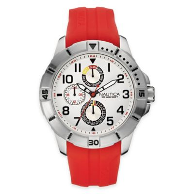 Nautica® Sport Men's 47mm White Dial Watch in Brushed Stainless Steel with Red Silicone Strap