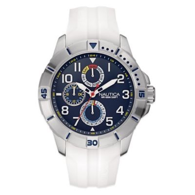 Nautica® Sport Men's 47mm Navy Dial Watch in Brushed Stainless Steel with White Silicone Strap