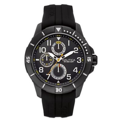 Nautica® Sport Men's 47mm Black Dial Watch in Black Stainless Steel with Black Silicone Strap