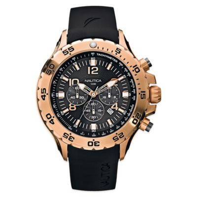 Nautica 49mm Black Dial Chronograph Watch in Rose Goldtone Stainless Steel with Black Rubber Strap