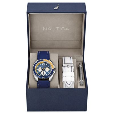 Nautica® Men's 39mm Navy Dial Sport Ring Watch Boxed Set with White and Navy Silicone Straps