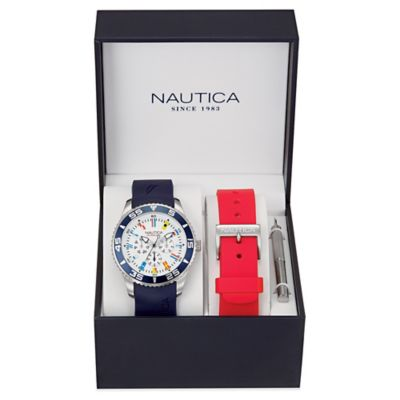 Nautica® Flags Men's 44mm White Dial Watch in Stainless Steel with Silicone Strap Set