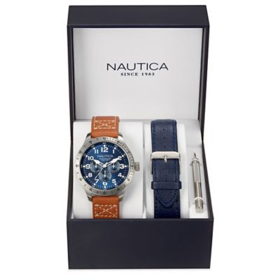 Nautica® Men's 44mm Blue Dial Chronograph Watch in Stainless Steel with Leather Strap Set