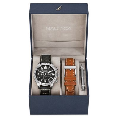Nautica® Men's 44mm Black Dial Chronograph Watch in Stainless Steel with Leather Strap Boxed Set