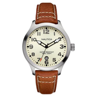 Nautica® Men's 44mm Cream Dial Watch in Stainless Steel with Cognac Leather Strap