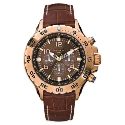 Nautica® Men's 49mm Brown Dial Chronograph Watch in Goldtone Stainless Steel with Leather Strap