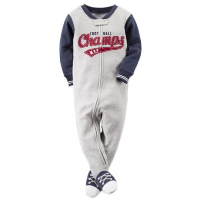 "Carter's® Size 2T ""Football Champs"" Footed Pajama in Grey"