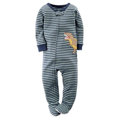 Carter's® Size 3T Stripe and Dinosaur Footed Pajama in Navy