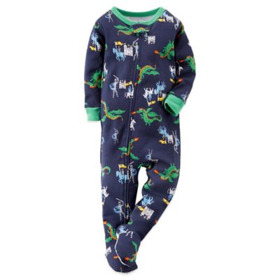 Carter's® Size 12M Medieval Dragons and Knights Footed Pajama in Navy