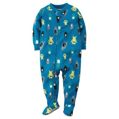 Carter's® Size 12M Alien Print Footed Pajama in Blue