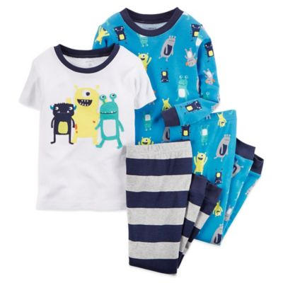 Carter's® Size 12M 4-Piece Alien Friends Pajama Set in Blue
