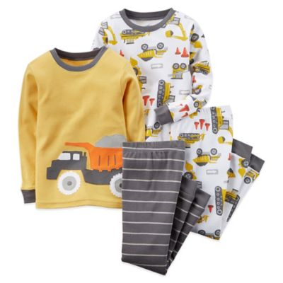 Boys' Sleepwear > Carter's® 4-Piece Size 18M Construction Long-Sleeve Pajama Set in Yellow